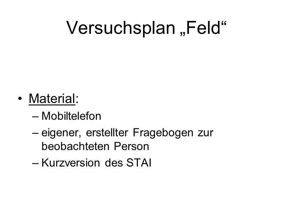 """Versuchsplan """"Feld Material: Mobiltelefon"""