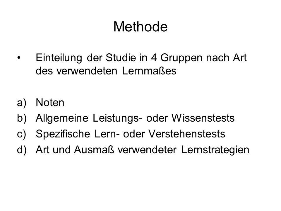 Methode Einteilung der Studie in 4 Gruppen nach Art des verwendeten Lernmaßes. Noten. Allgemeine Leistungs- oder Wissenstests.