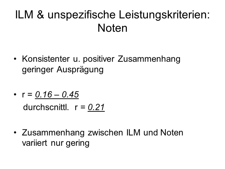 ILM & unspezifische Leistungskriterien: Noten