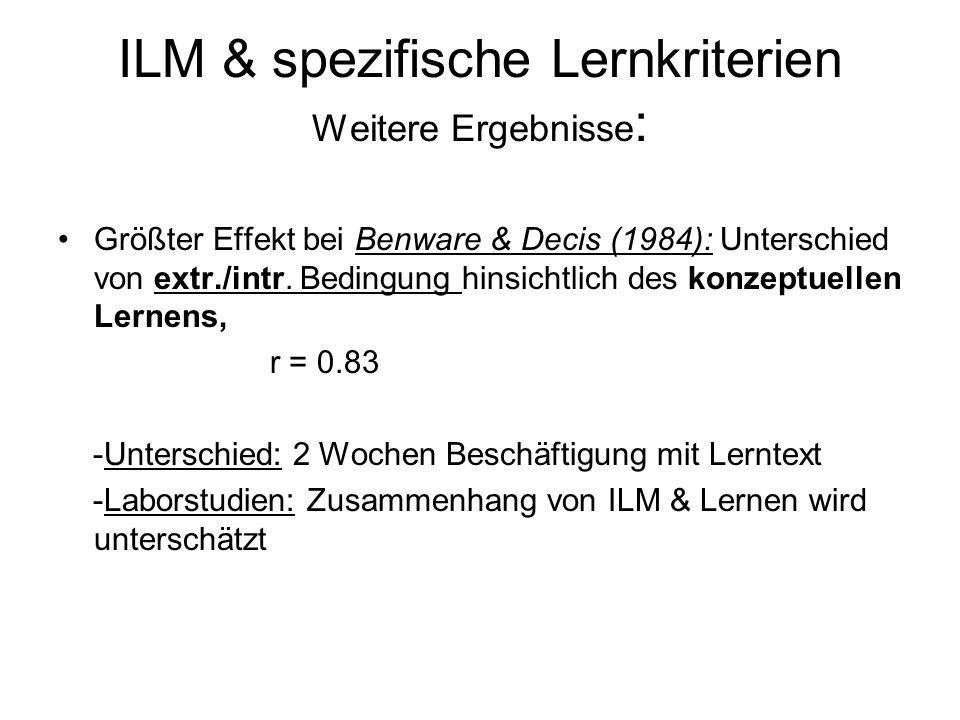 ILM & spezifische Lernkriterien Weitere Ergebnisse: