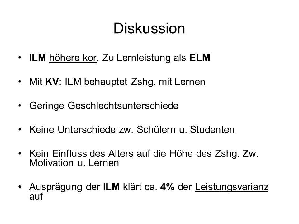 Diskussion ILM höhere kor. Zu Lernleistung als ELM