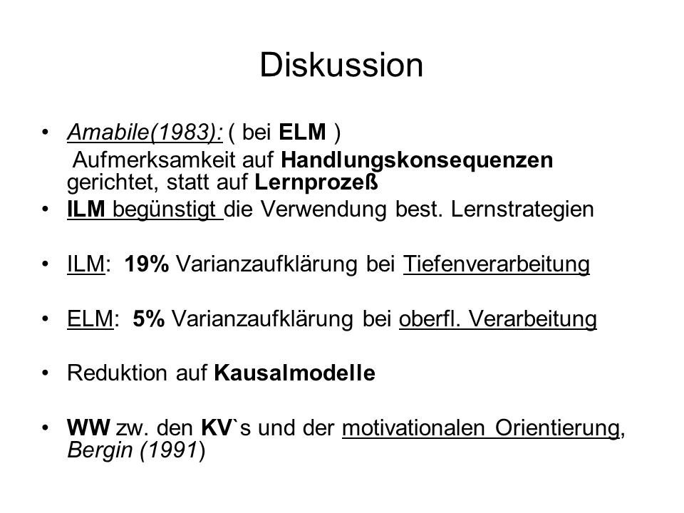 Diskussion Amabile(1983): ( bei ELM )