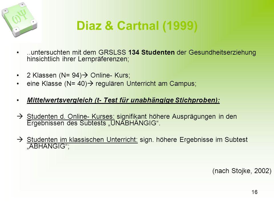 Diaz & Cartnal (1999) ..untersuchten mit dem GRSLSS 134 Studenten der Gesundheitserziehung hinsichtlich ihrer Lernpräferenzen;
