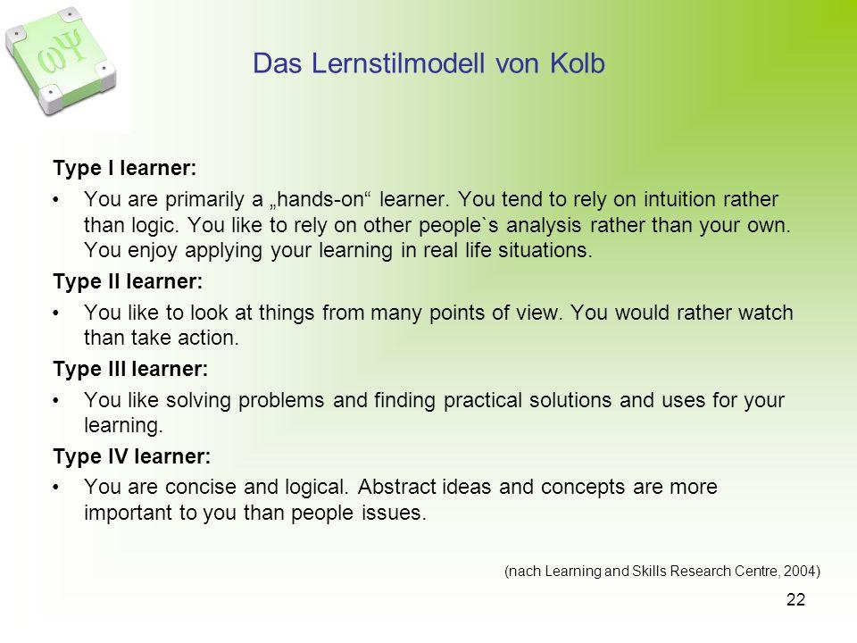 Das Lernstilmodell von Kolb