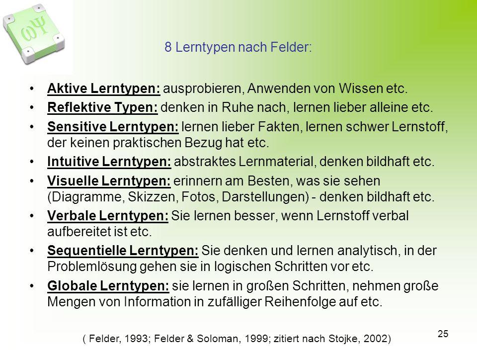 8 Lerntypen nach Felder: