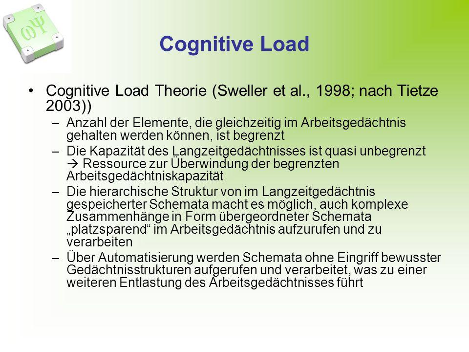 Cognitive Load Cognitive Load Theorie (Sweller et al., 1998; nach Tietze 2003))