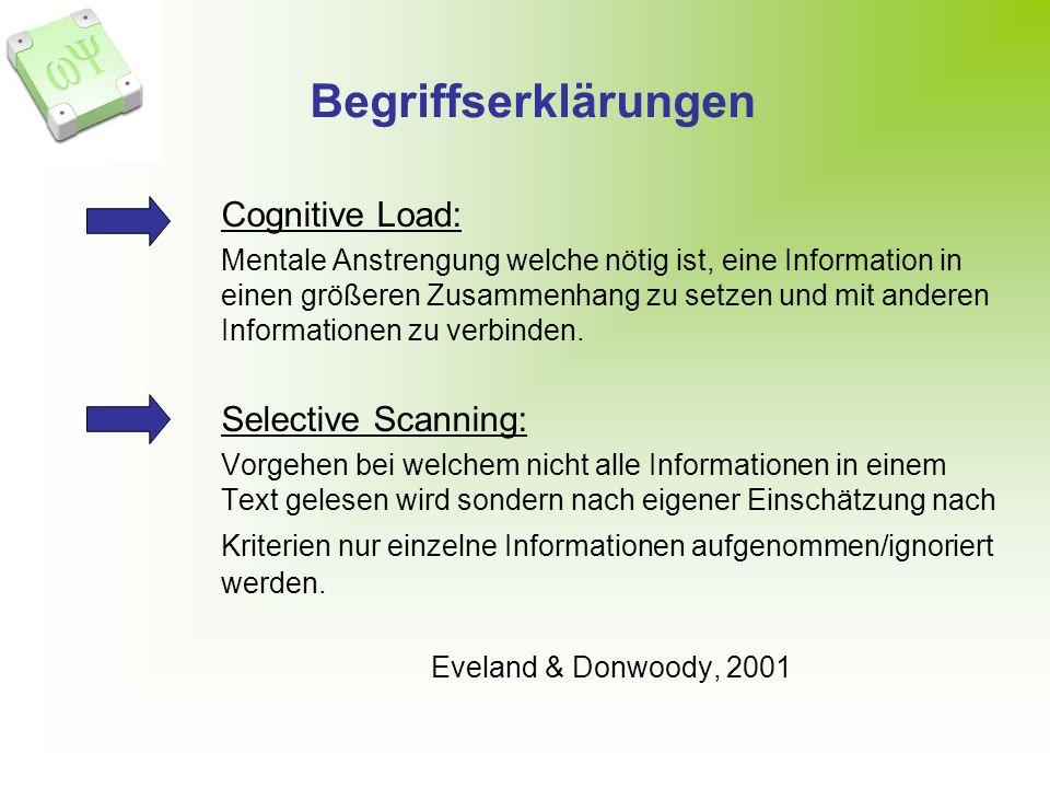Begriffserklärungen Cognitive Load: Selective Scanning: