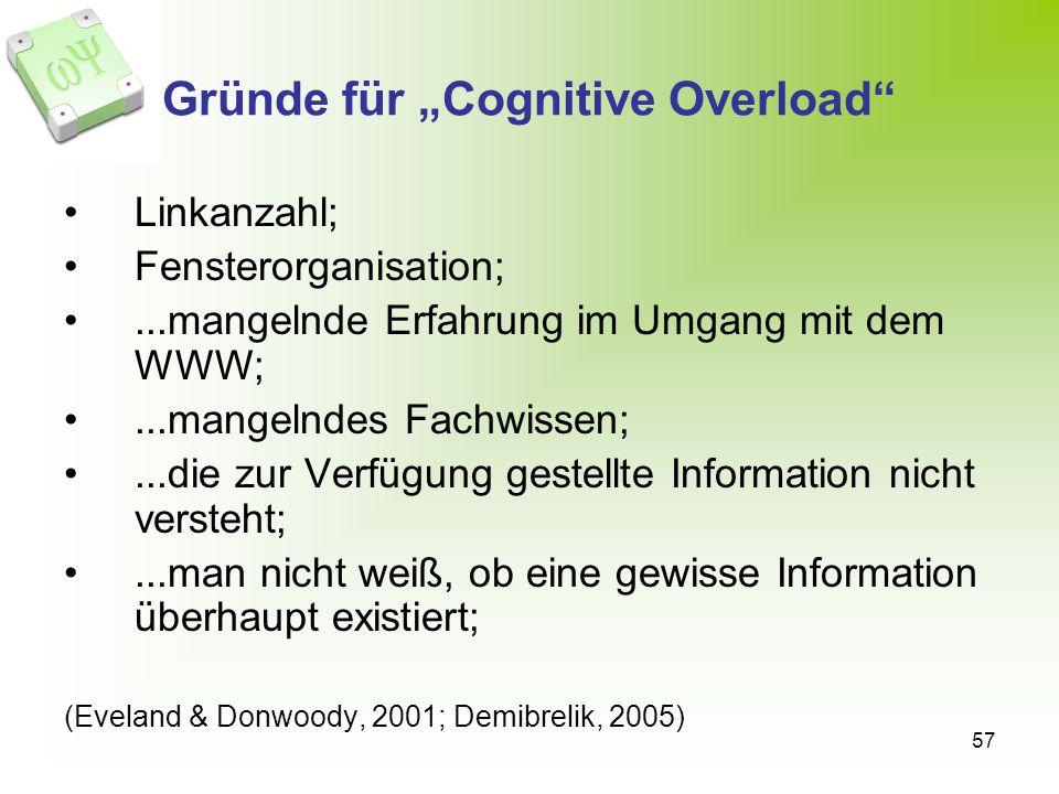 """Gründe für """"Cognitive Overload"""