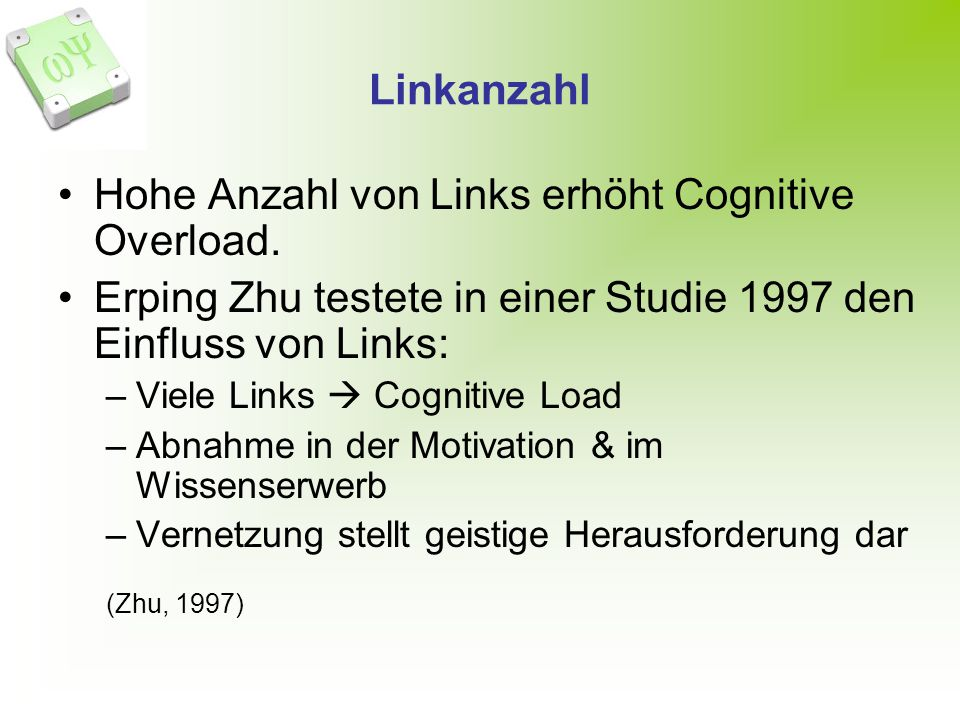 Hohe Anzahl von Links erhöht Cognitive Overload.
