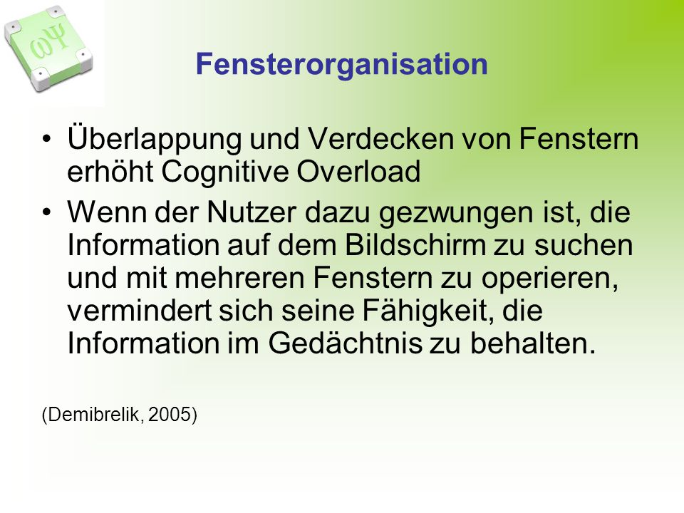 Überlappung und Verdecken von Fenstern erhöht Cognitive Overload