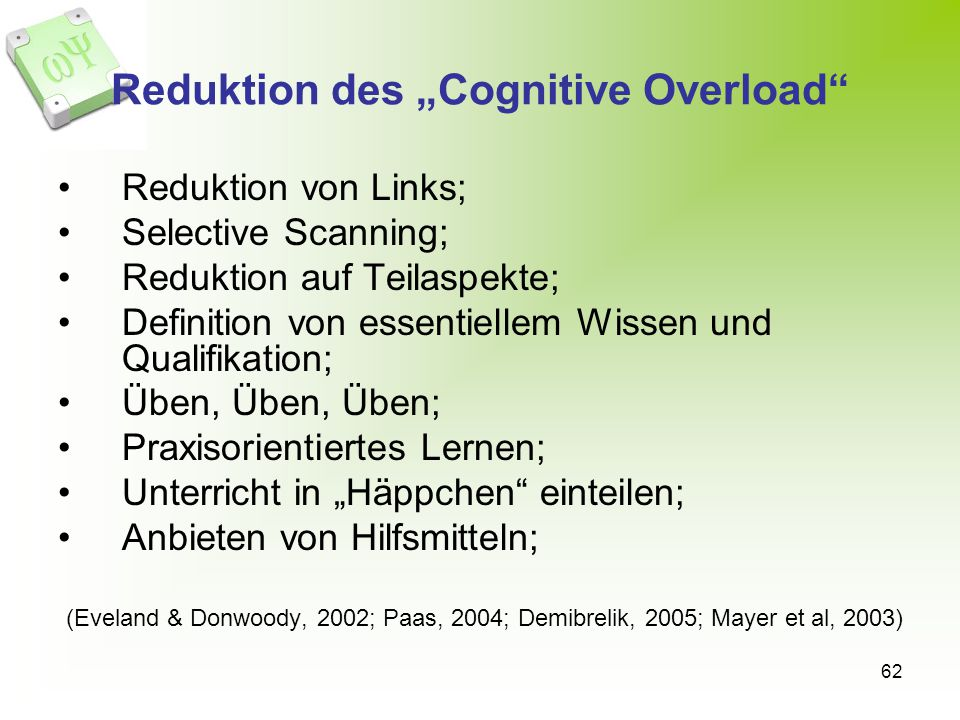 """Reduktion des """"Cognitive Overload"""