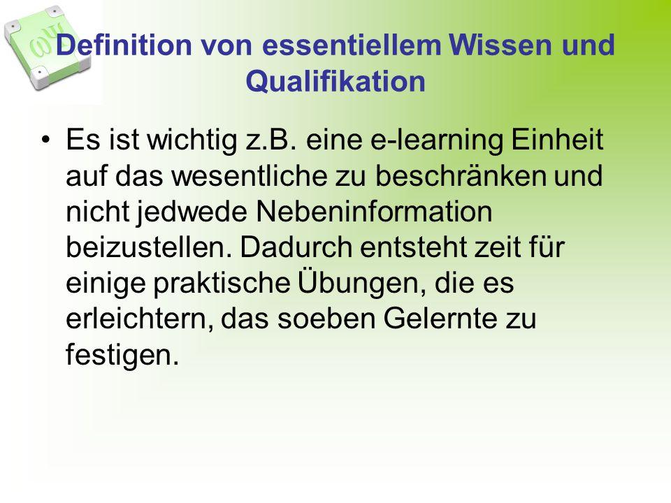 Definition von essentiellem Wissen und Qualifikation