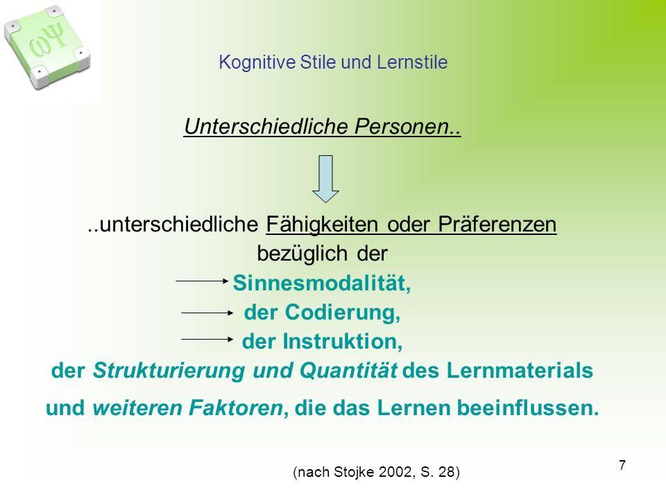 Kognitive Stile und Lernstile