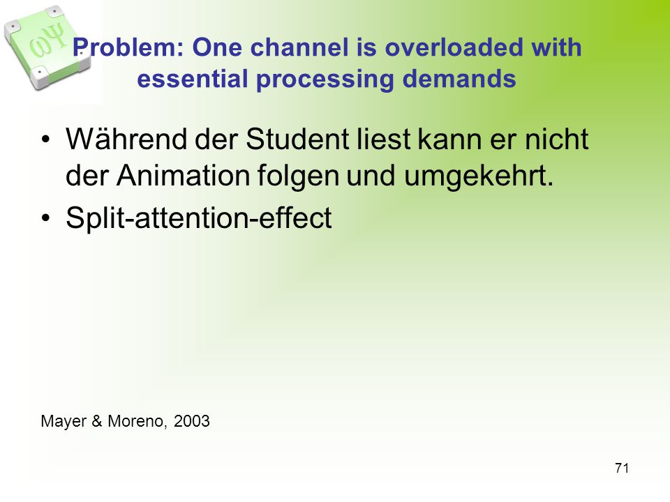 Problem: One channel is overloaded with essential processing demands