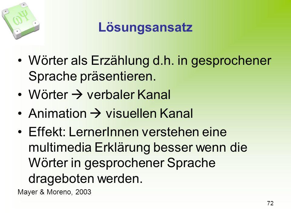 Wörter als Erzählung d.h. in gesprochener Sprache präsentieren.