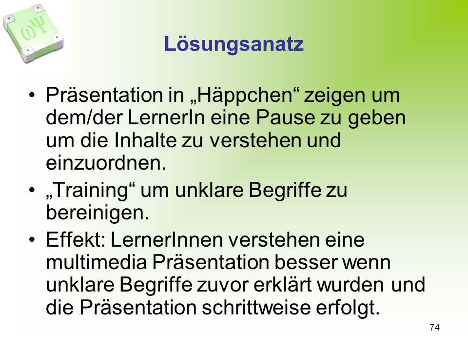 """Lösungsanatz Präsentation in """"Häppchen zeigen um dem/der LernerIn eine Pause zu geben um die Inhalte zu verstehen und einzuordnen."""
