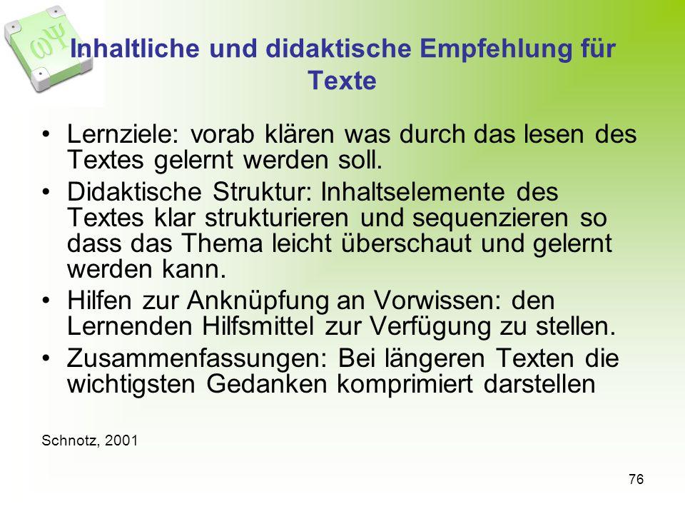 Inhaltliche und didaktische Empfehlung für Texte
