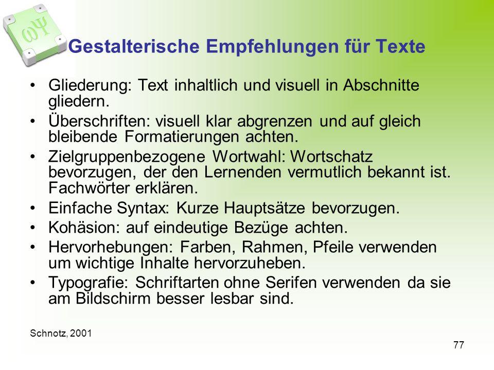 Gestalterische Empfehlungen für Texte