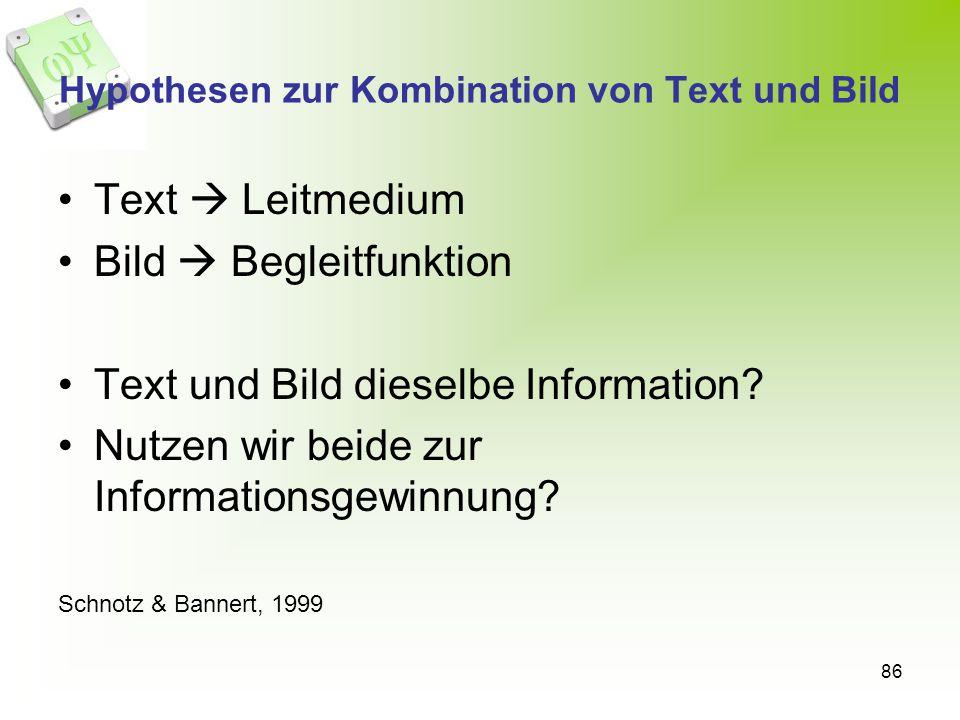 Hypothesen zur Kombination von Text und Bild
