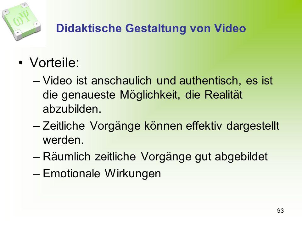 Didaktische Gestaltung von Video