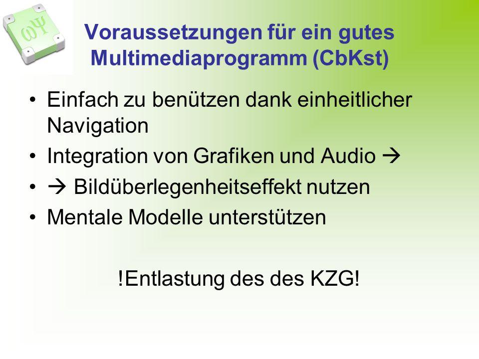 Voraussetzungen für ein gutes Multimediaprogramm (CbKst)