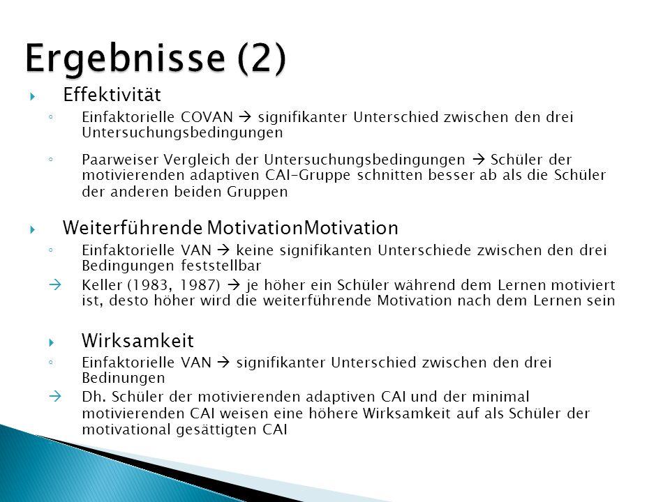 Ergebnisse (2) Effektivität Weiterführende MotivationMotivation