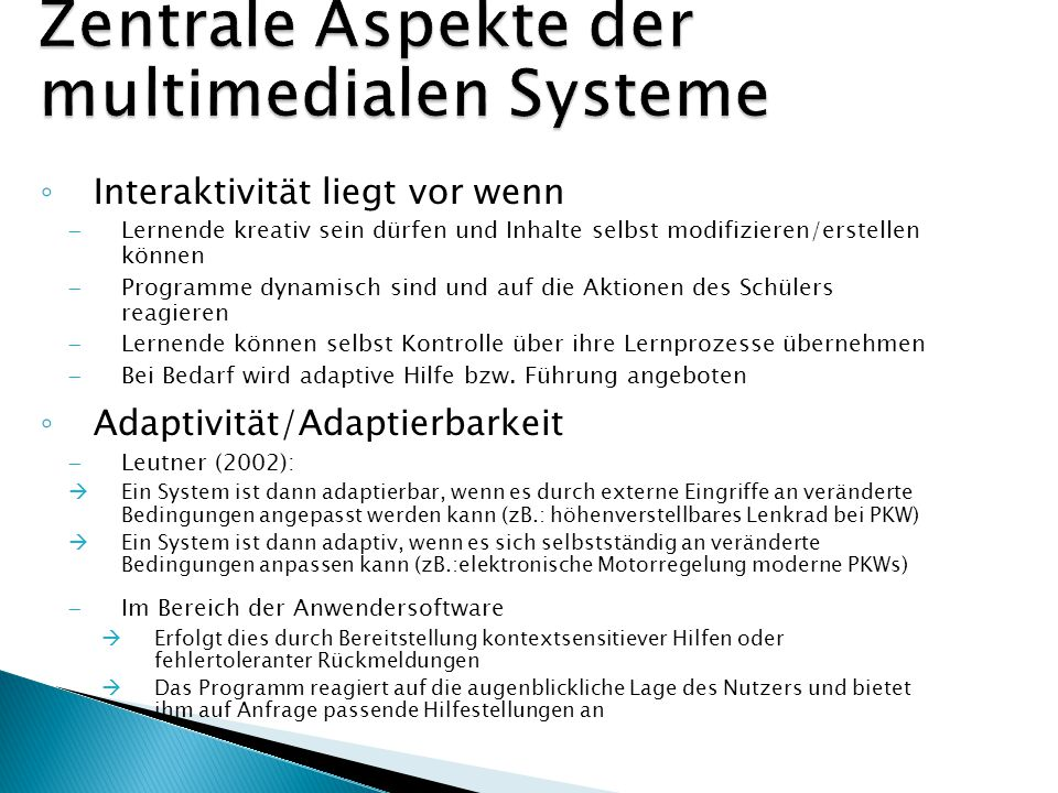 Zentrale Aspekte der multimedialen Systeme