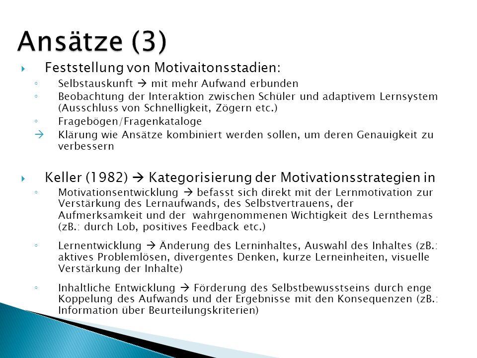 Ansätze (3) Feststellung von Motivaitonsstadien: