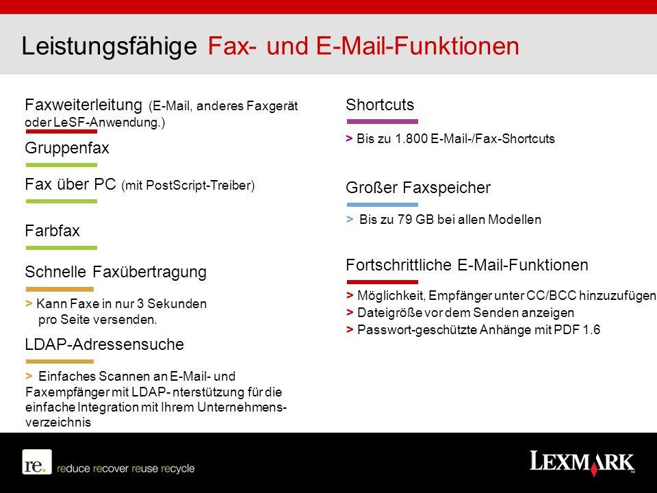 Leistungsfähige Fax- und E-Mail-Funktionen
