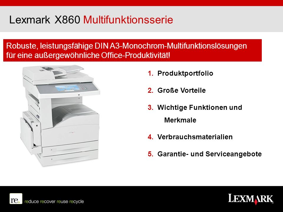 Lexmark X860 Multifunktionsserie