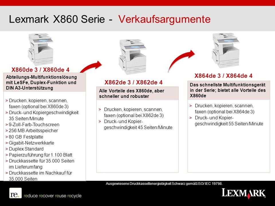 Lexmark X860 Serie - Verkaufsargumente