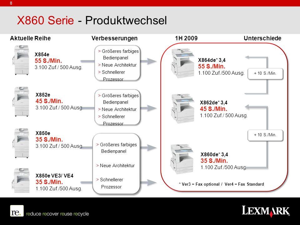 X860 Serie - Produktwechsel