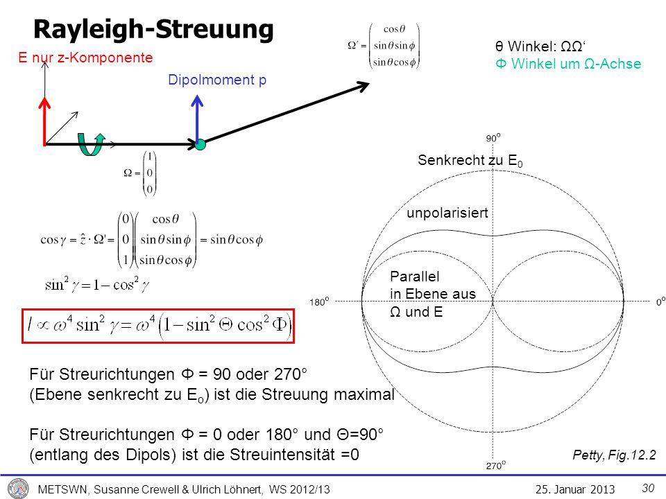 Rayleigh-Streuung θ Winkel: ΩΩ' Φ Winkel um Ω-Achse. E nur z-Komponente. Dipolmoment p. Senkrecht zu E0.