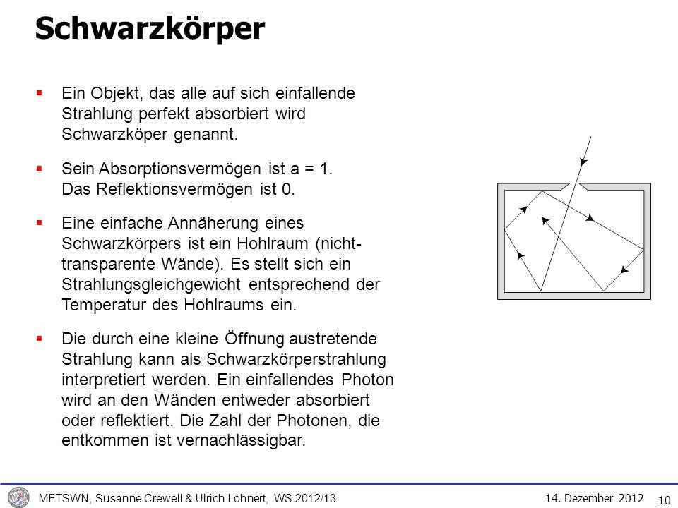 Schwarzkörper Ein Objekt, das alle auf sich einfallende Strahlung perfekt absorbiert wird Schwarzköper genannt.