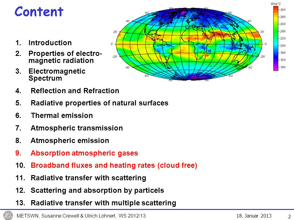 Content Introduction Properties of electro- magnetic radiation