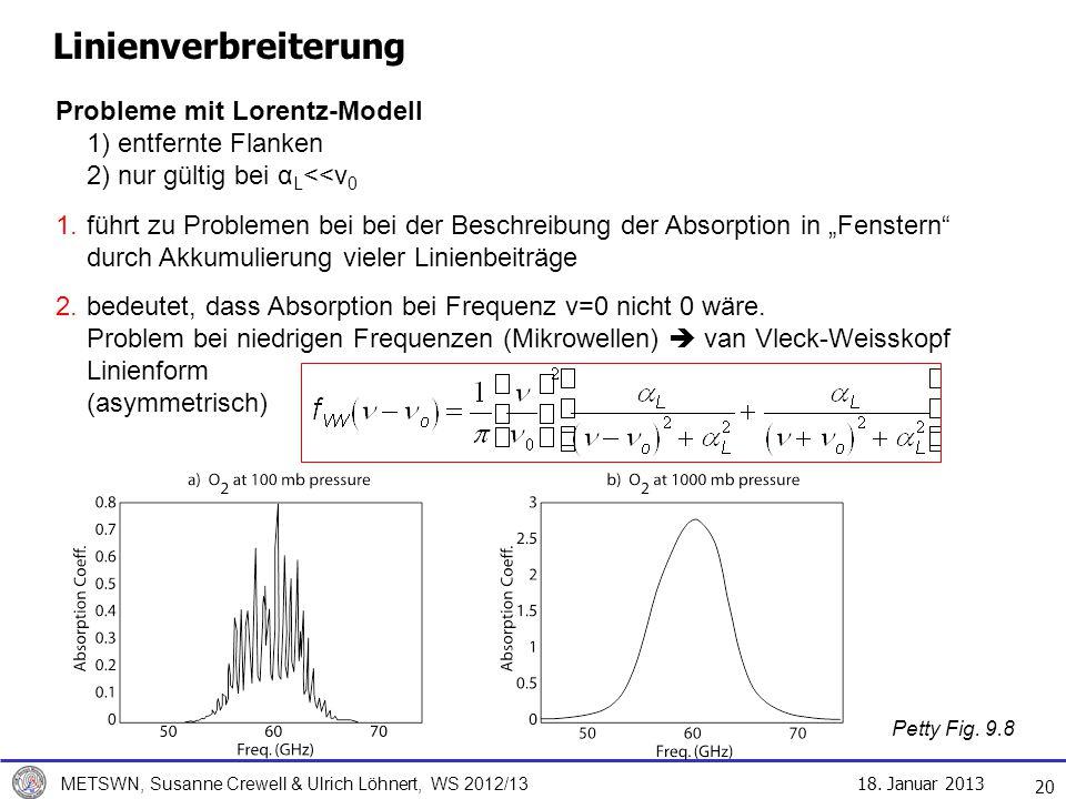 Linienverbreiterung Probleme mit Lorentz-Modell 1) entfernte Flanken 2) nur gültig bei αL<<ν0.