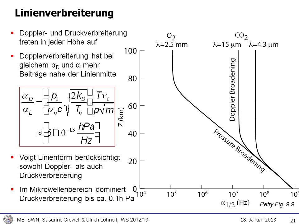 Linienverbreiterung Doppler- und Druckverbreiterung treten in jeder Höhe auf.