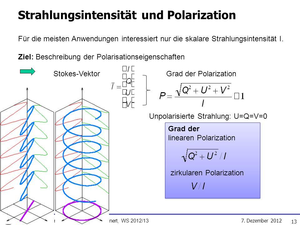 Strahlungsintensität und Polarization