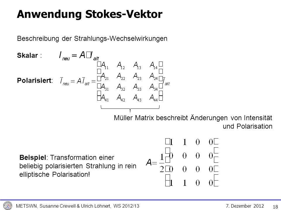 Anwendung Stokes-Vektor