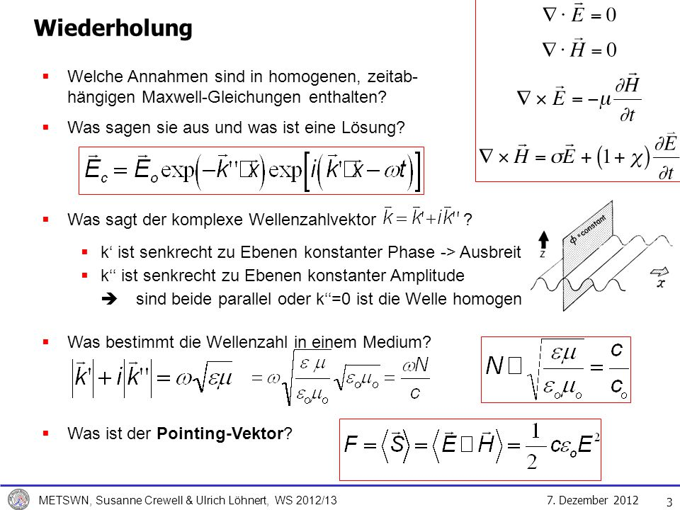 Wiederholung Welche Annahmen sind in homogenen, zeitab- hängigen Maxwell-Gleichungen enthalten Was sagen sie aus und was ist eine Lösung