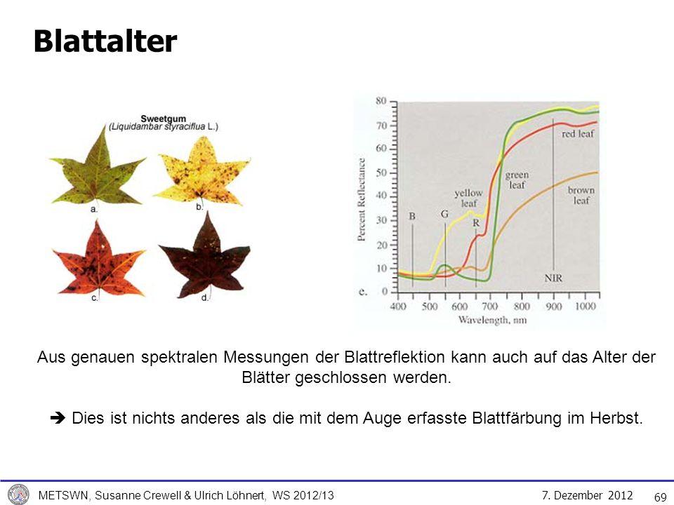 Blattalter Aus genauen spektralen Messungen der Blattreflektion kann auch auf das Alter der Blätter geschlossen werden.