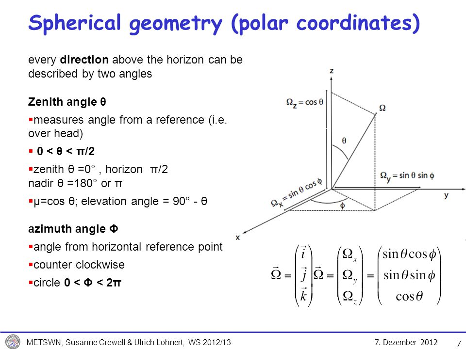 Spherical geometry (polar coordinates)