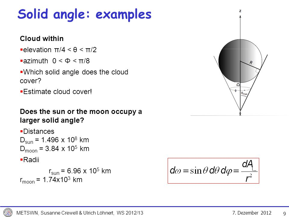 Solid angle: examples Cloud within elevation π/4 < θ < π/2