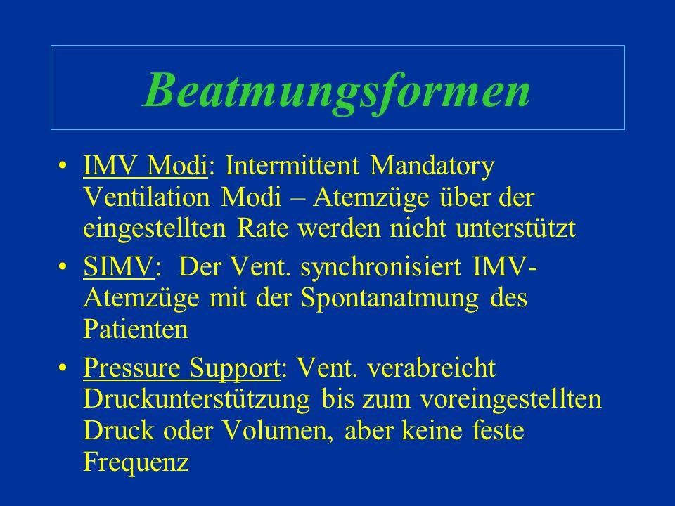 Beatmungsformen IMV Modi: Intermittent Mandatory Ventilation Modi – Atemzüge über der eingestellten Rate werden nicht unterstützt.