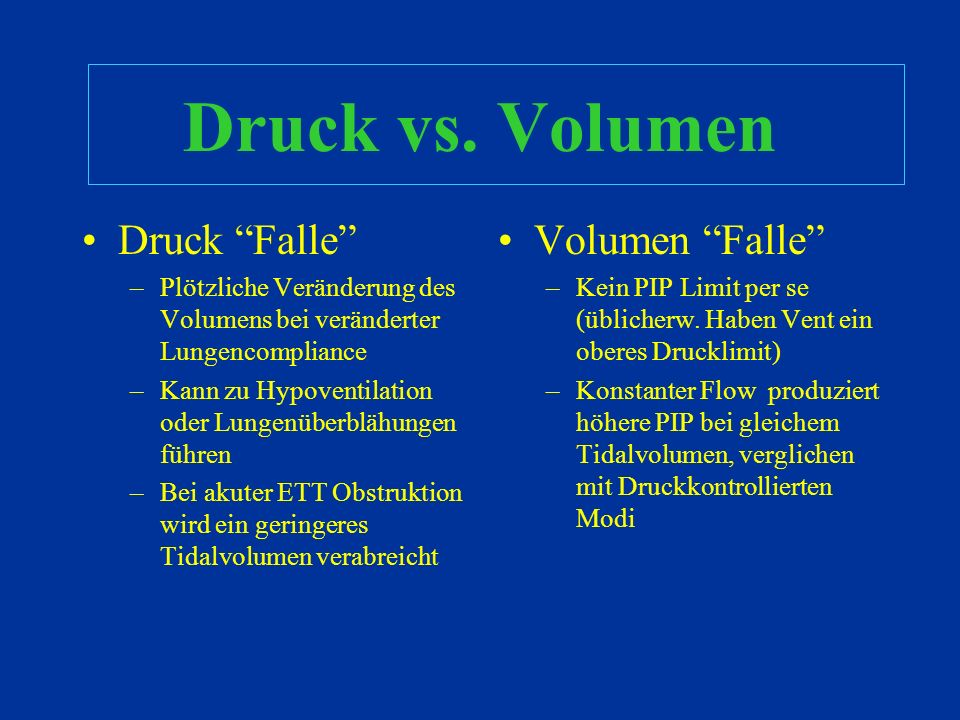 Druck vs. Volumen Druck Falle Volumen Falle