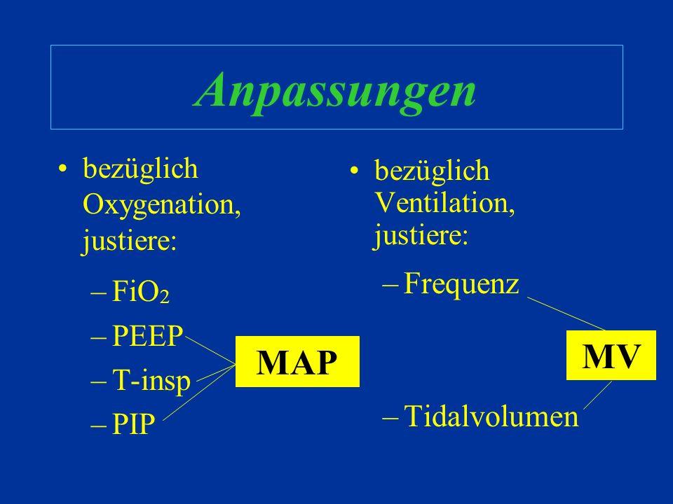 Anpassungen MV MAP Frequenz Tidalvolumen FiO2 PEEP T-insp PIP