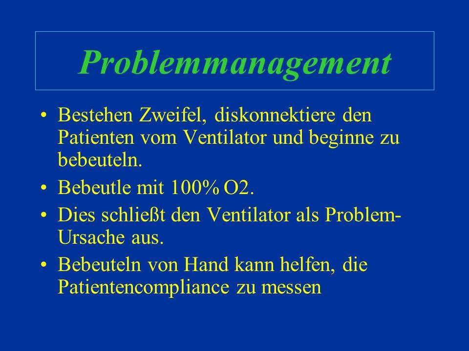 Problemmanagement Bestehen Zweifel, diskonnektiere den Patienten vom Ventilator und beginne zu bebeuteln.