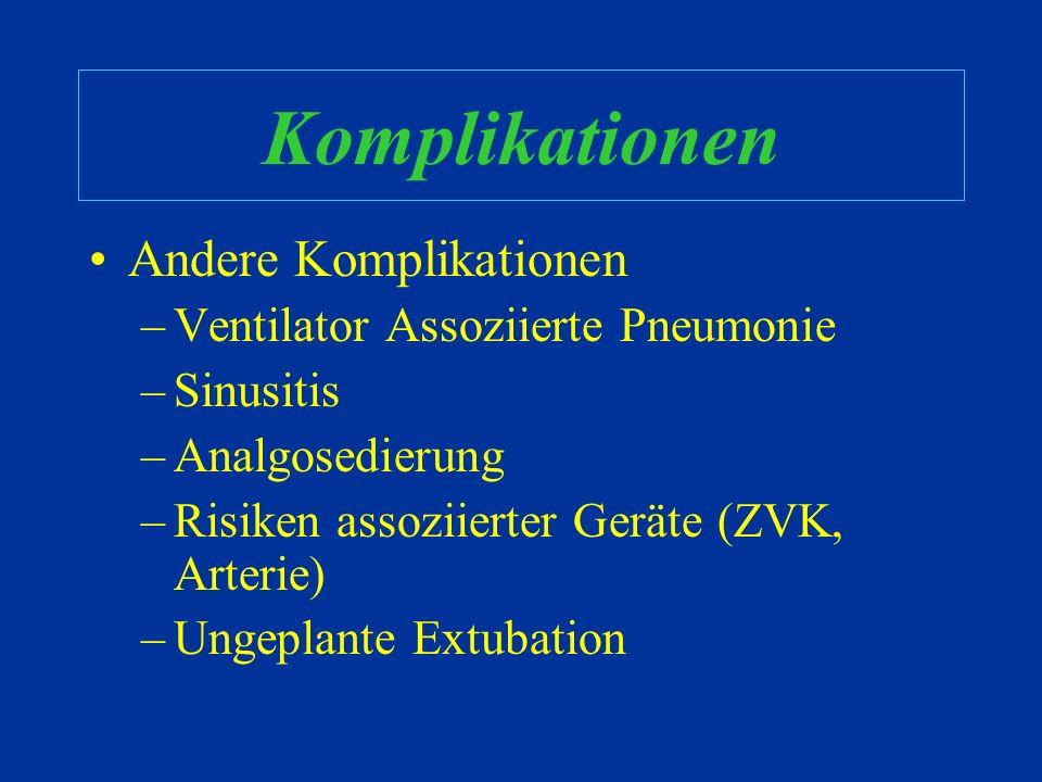 Komplikationen Andere Komplikationen Ventilator Assoziierte Pneumonie