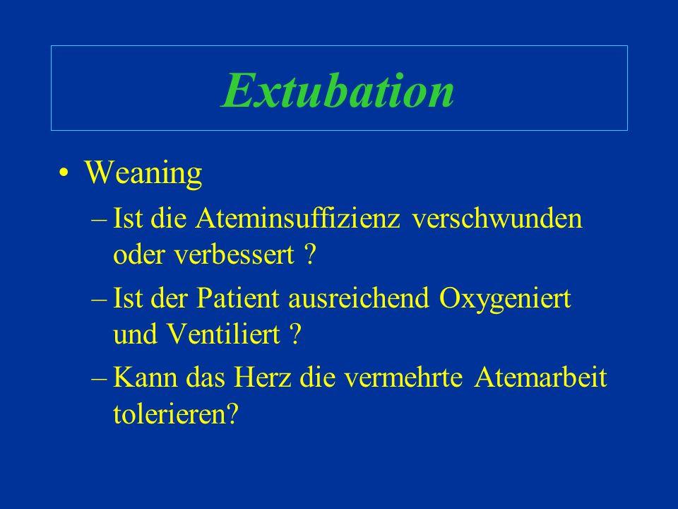 Extubation Weaning. Ist die Ateminsuffizienz verschwunden oder verbessert Ist der Patient ausreichend Oxygeniert und Ventiliert