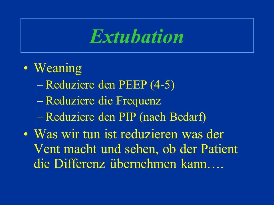 Extubation Weaning. Reduziere den PEEP (4-5) Reduziere die Frequenz. Reduziere den PIP (nach Bedarf)